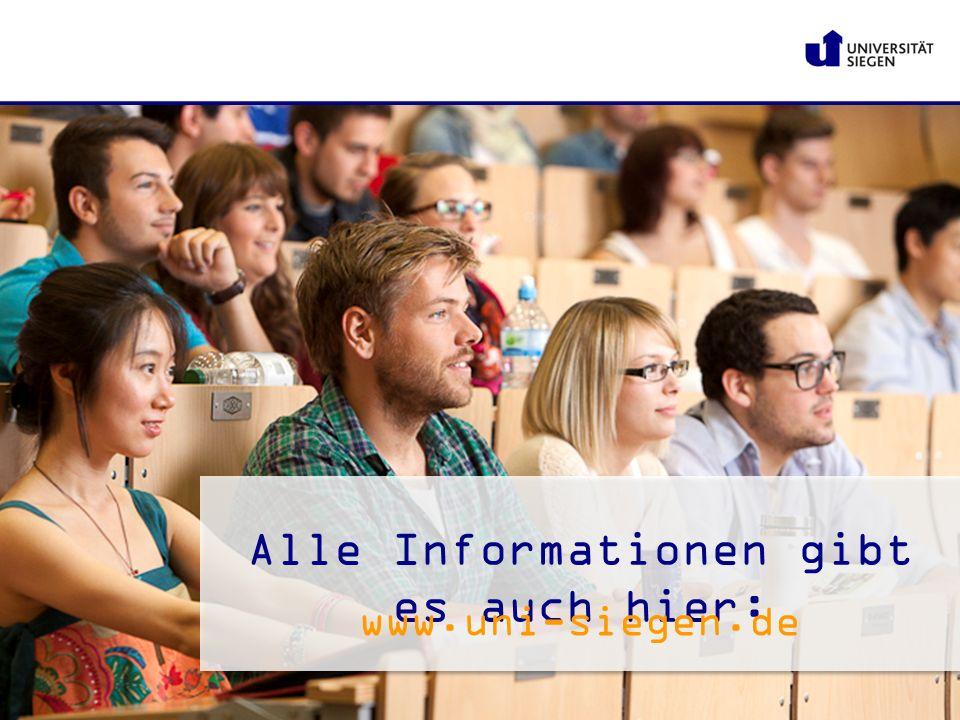 Alle Informationen gibt es auch hier: www.uni-siegen.de