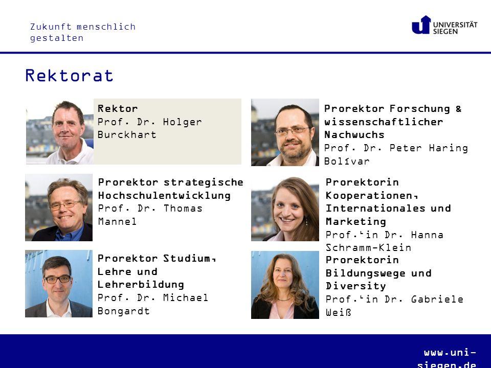 Zukunft menschlich gestalten www.uni- siegen.de Prorektor Studium, Lehre und Lehrerbildung Prof.