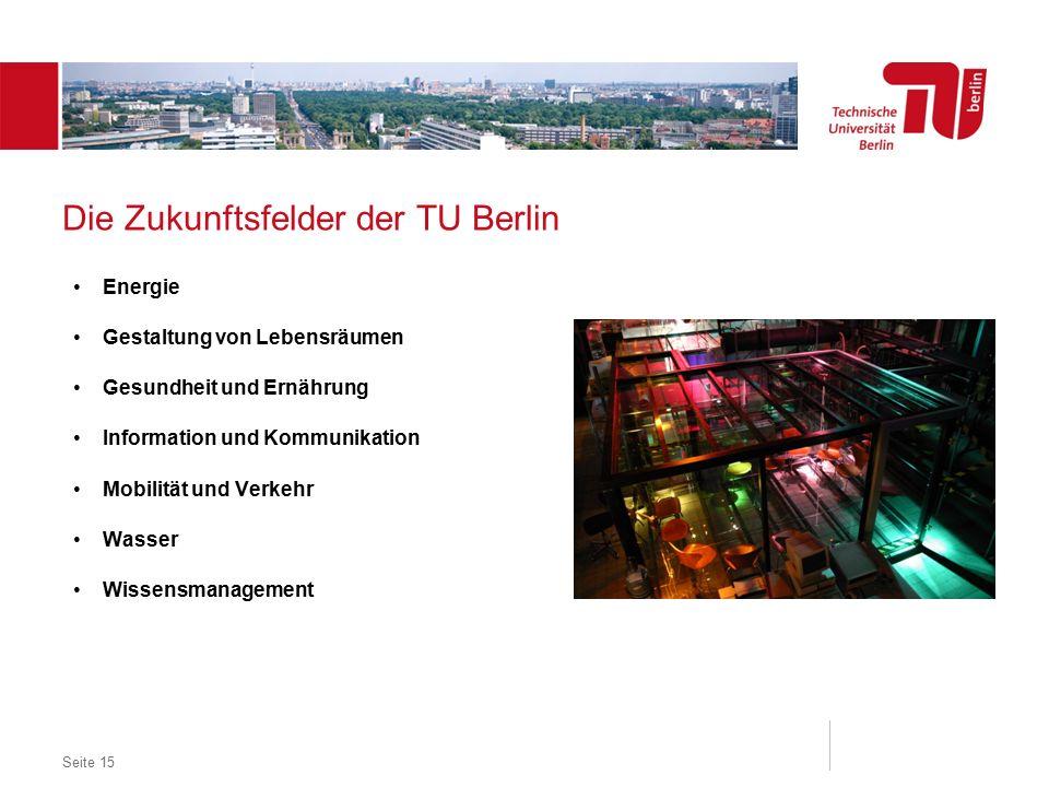 Dezentrales Logo optional Die Zukunftsfelder der TU Berlin Energie Gestaltung von Lebensräumen Gesundheit und Ernährung Information und Kommunikation Mobilität und Verkehr Wasser Wissensmanagement Seite 15