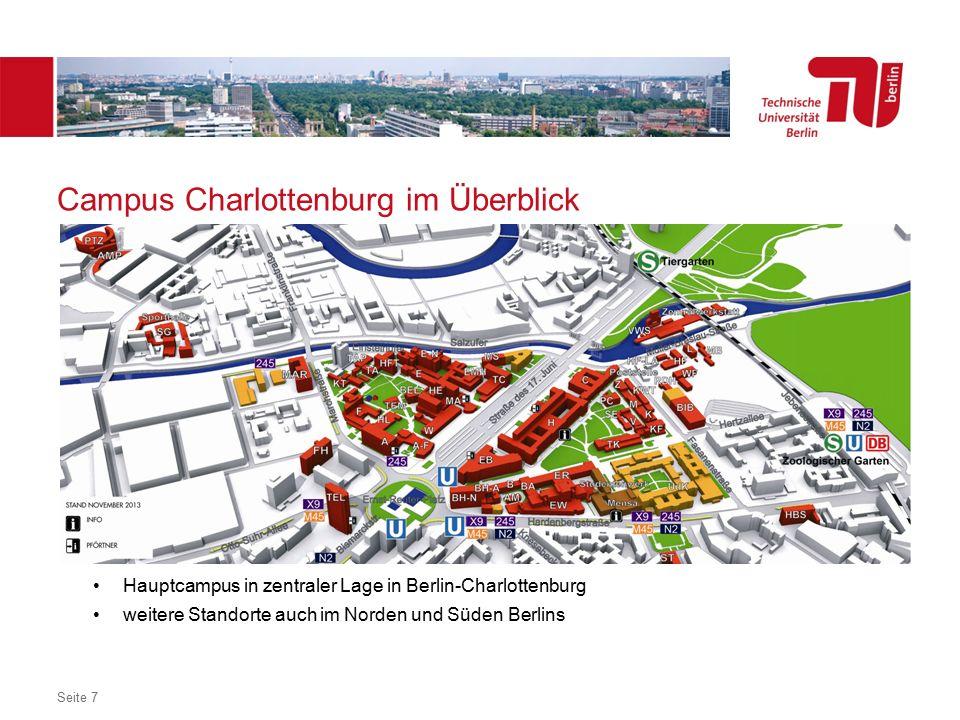Dezentrales Logo optional Campus Charlottenburg im Überblick Hauptcampus in zentraler Lage in Berlin-Charlottenburg weitere Standorte auch im Norden und Süden Berlins Seite 7