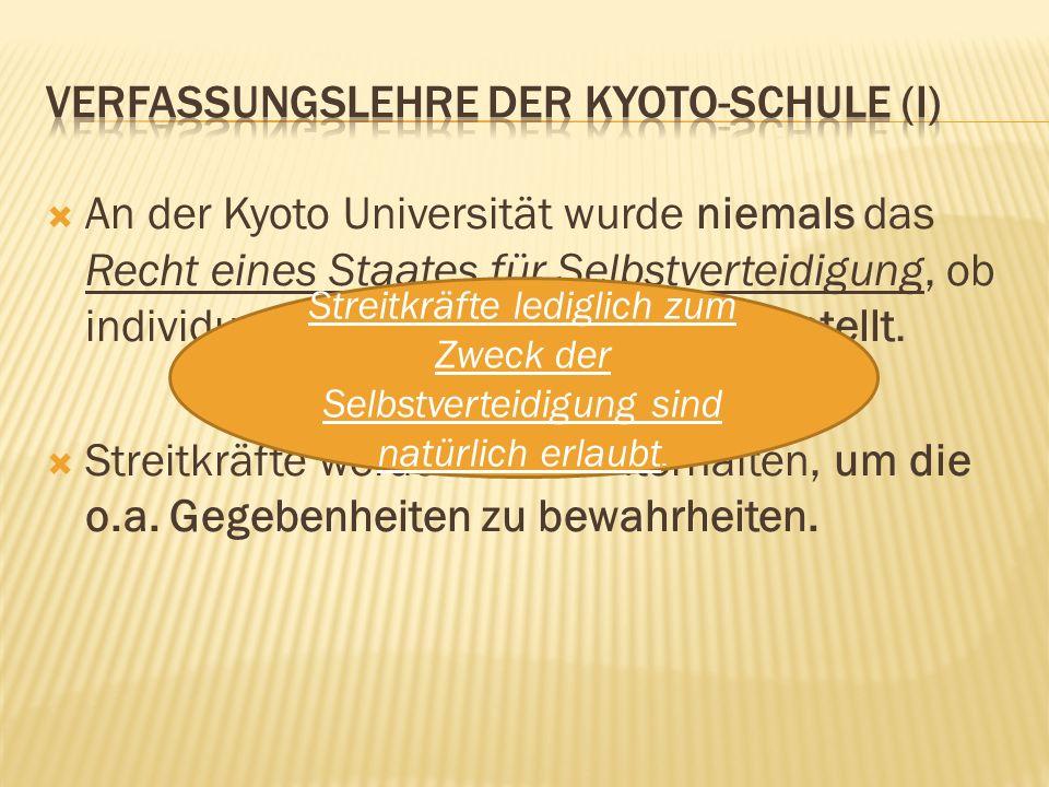  An der Kyoto Universität wurde niemals das Recht eines Staates für Selbstverteidigung, ob individuell oder kollektiv, in Frage gestellt.  Streitkrä