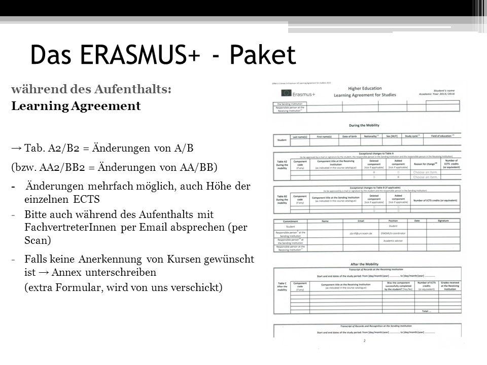 Das ERASMUS+ - Paket während des Aufenthalts: Learning Agreement → Tab.