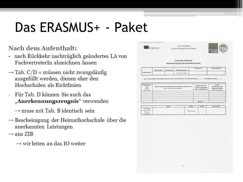 Das ERASMUS+ - Paket Nach dem Aufenthalt: - nach Rückkehr nachträglich geändertes LA von FachvertreterIn abzeichnen lassen → Tab.