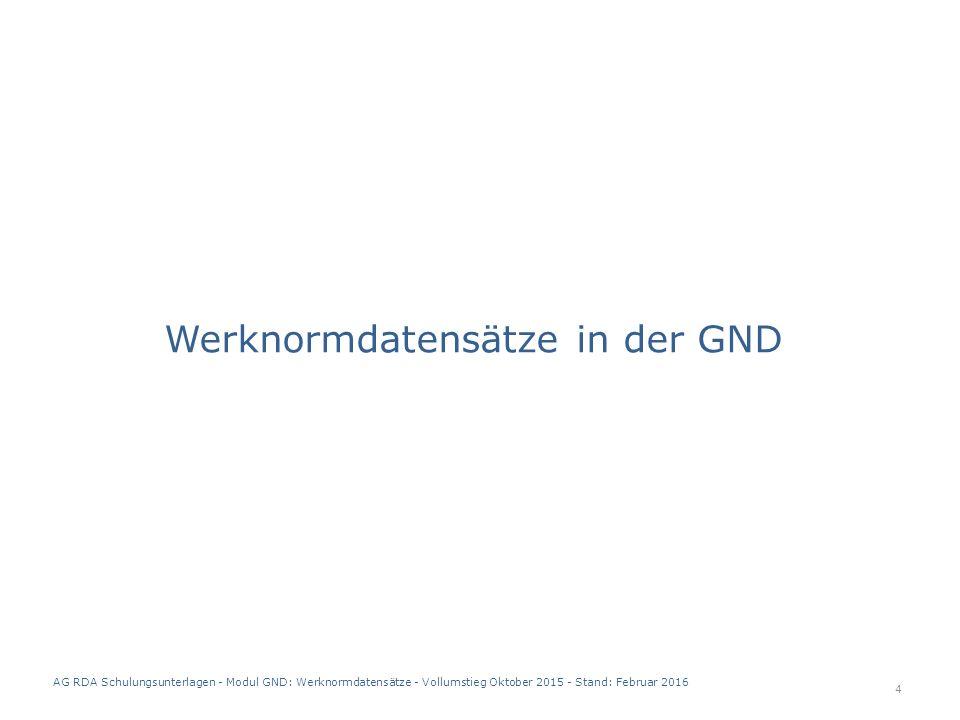 Werknormdatensätze in der GND 4 AG RDA Schulungsunterlagen - Modul GND: Werknormdatensätze - Vollumstieg Oktober 2015 - Stand: Februar 2016