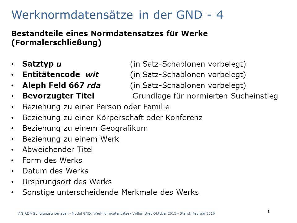 AG RDA Schulungsunterlagen - Modul GND: Werknormdatensätze - Vollumstieg Oktober 2015 - Stand: Februar 2016 29