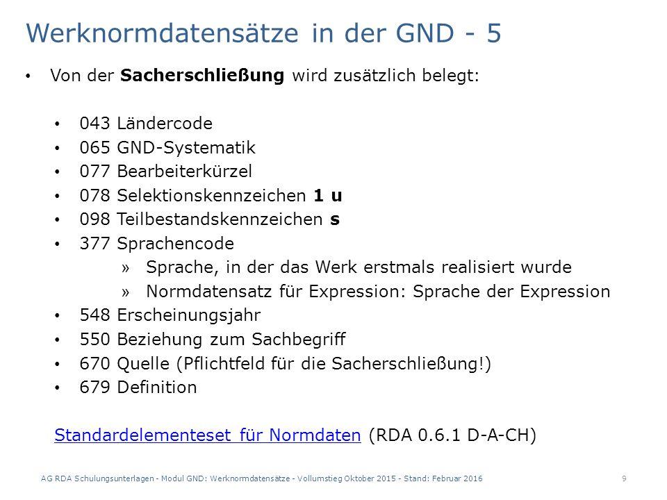 AG RDA Schulungsunterlagen - Modul GND: Werknormdatensätze - Vollumstieg Oktober 2015 - Stand: Februar 2016 30 Datensatz der Formalerschließung