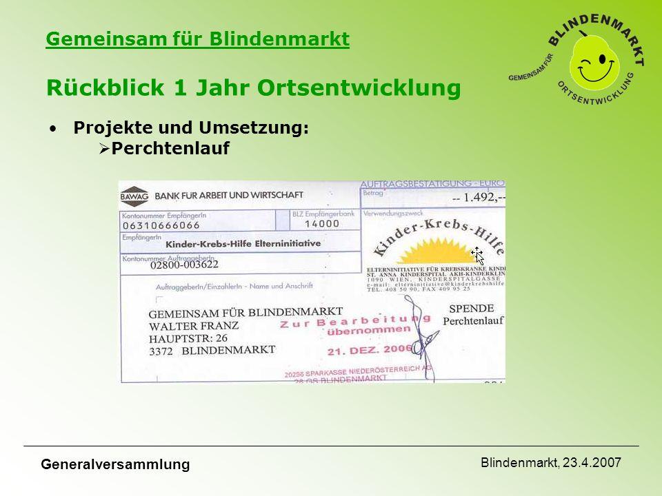 Gemeinsam für Blindenmarkt Generalversammlung Blindenmarkt, 23.4.2007 Rückblick 1 Jahr Ortsentwicklung Projekte und Umsetzung:  Perchtenlauf