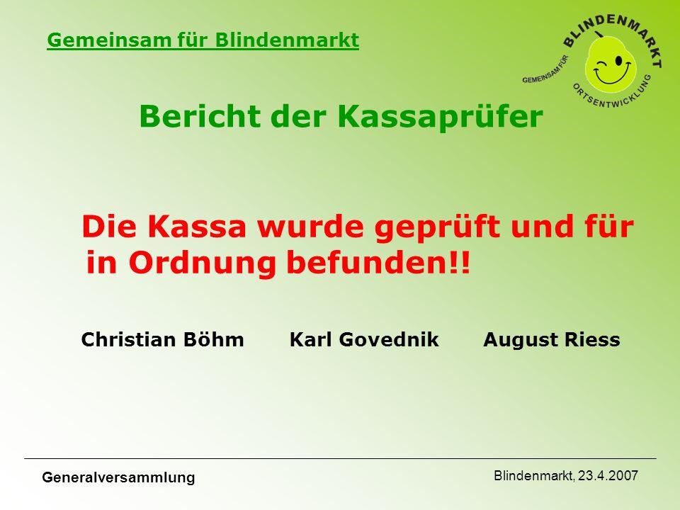 Gemeinsam für Blindenmarkt Generalversammlung Blindenmarkt, 23.4.2007 Bericht der Kassaprüfer Die Kassa wurde geprüft und für in Ordnung befunden!.