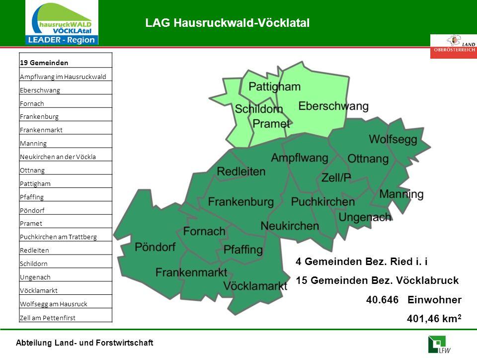 Abteilung Land- und Forstwirtschaft LAG Hausruckwald-Vöcklatal 4 Gemeinden Bez. Ried i. i 15 Gemeinden Bez. Vöcklabruck 40.646 Einwohner 401,46 km 2 1