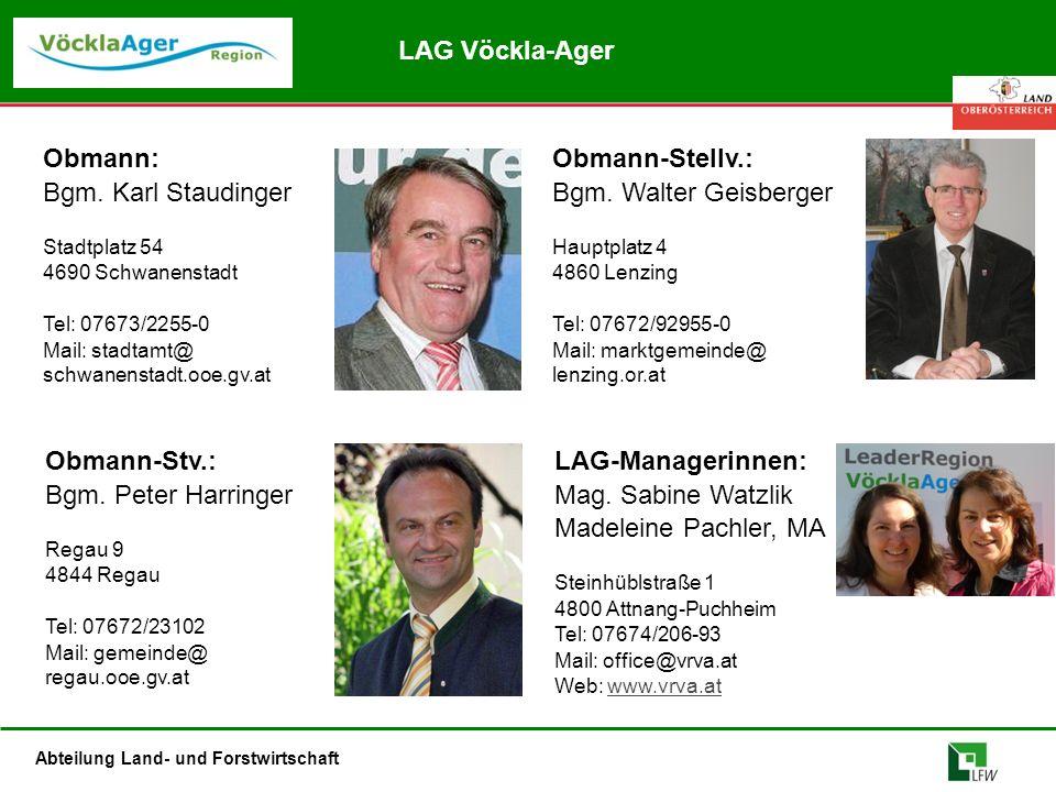 Abteilung Land- und Forstwirtschaft Obmann: Bgm. Karl Staudinger Stadtplatz 54 4690 Schwanenstadt Tel: 07673/2255-0 Mail: stadtamt@ schwanenstadt.ooe.
