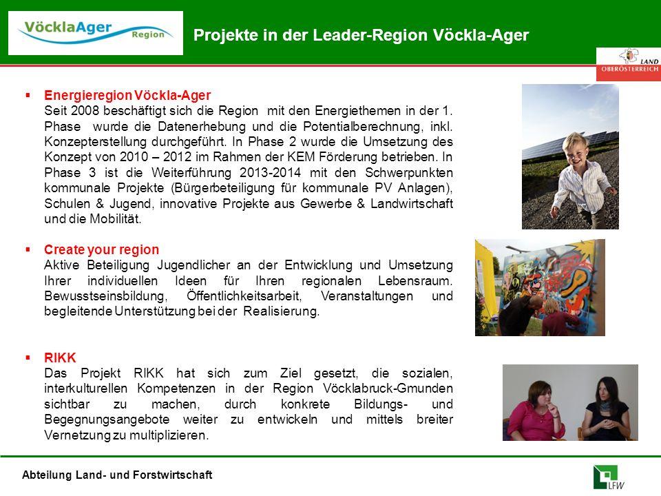 Abteilung Land- und Forstwirtschaft Projekte in der Leader-Region Vöckla-Ager  Energieregion Vöckla-Ager Seit 2008 beschäftigt sich die Region mit de