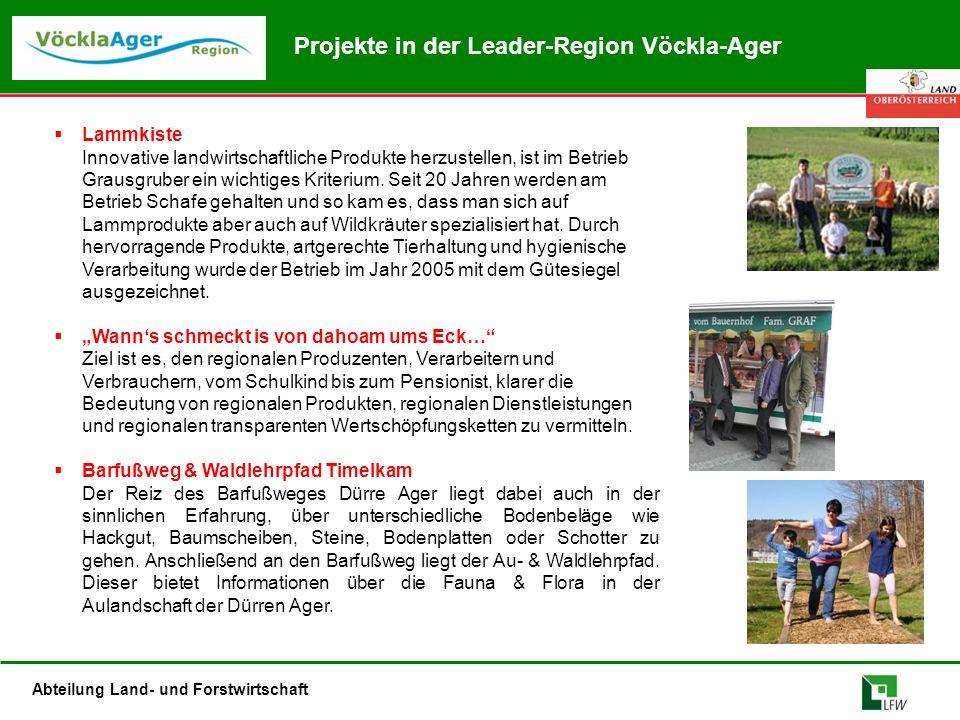 Abteilung Land- und Forstwirtschaft Projekte in der Leader-Region Vöckla-Ager  Lammkiste Innovative landwirtschaftliche Produkte herzustellen, ist im Betrieb Grausgruber ein wichtiges Kriterium.