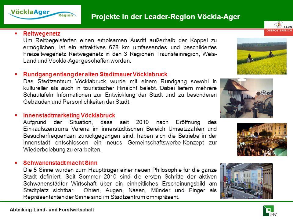 Abteilung Land- und Forstwirtschaft Projekte in der Leader-Region Vöckla-Ager  Reitwegenetz Um Reitbegeisterten einen erholsamen Ausritt außerhalb de