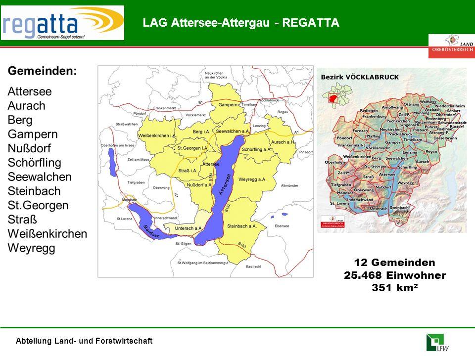 Abteilung Land- und Forstwirtschaft LAG Attersee-Attergau - REGATTA 12 Gemeinden 25.468 Einwohner 351 km²