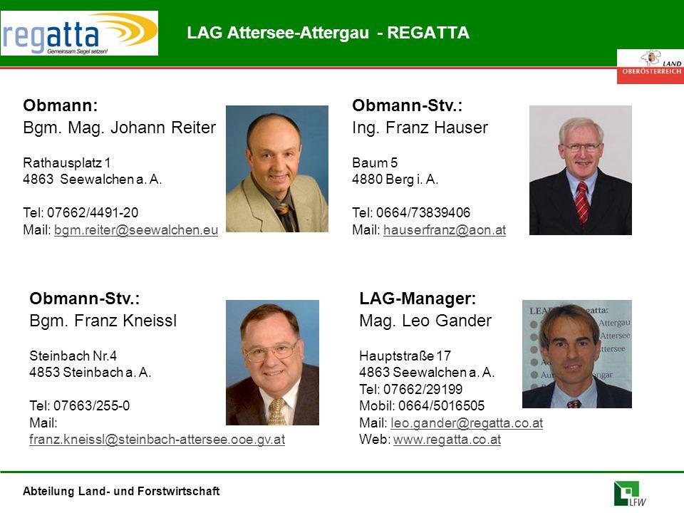 Abteilung Land- und Forstwirtschaft Obmann: Bgm. Mag. Johann Reiter Rathausplatz 1 4863 Seewalchen a. A. Tel: 07662/4491-20 Mail: bgm.reiter@seewalche