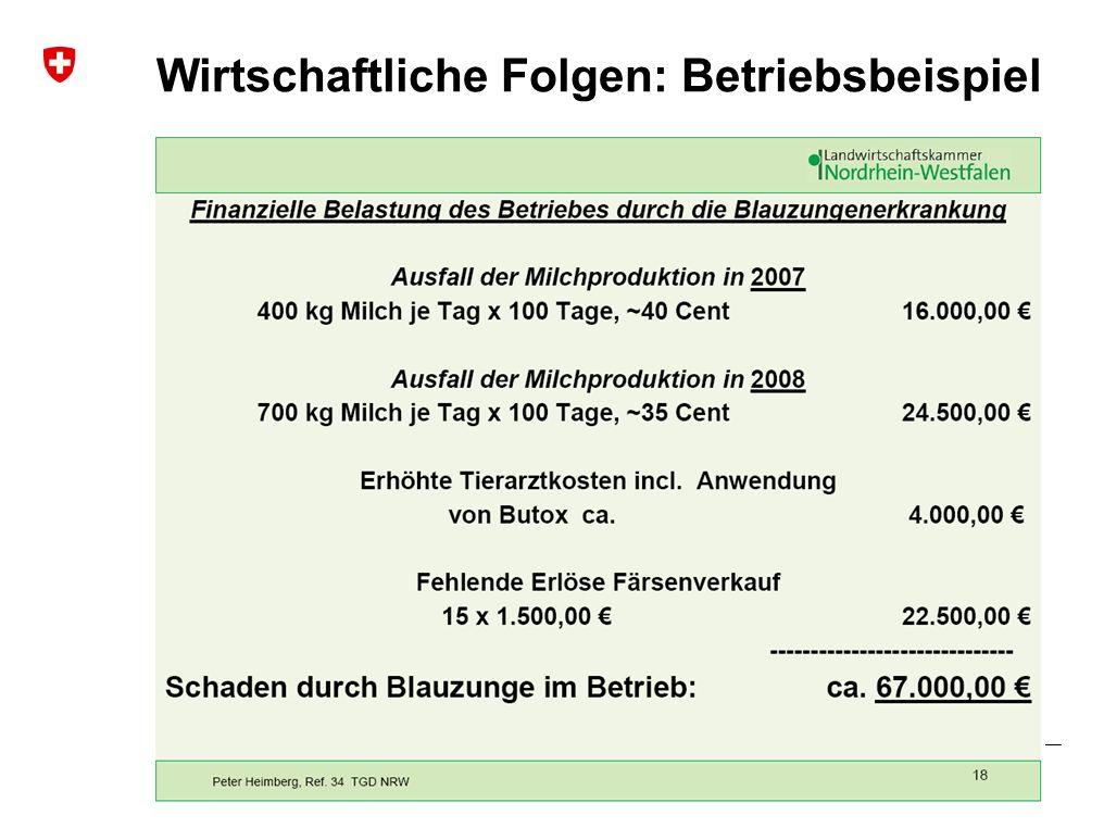 Blauzungenkrankheit | Januar 2010 Bundesamt für Veterinärwesen BVET Wirtschaftliche Folgen: Betriebsbeispiel