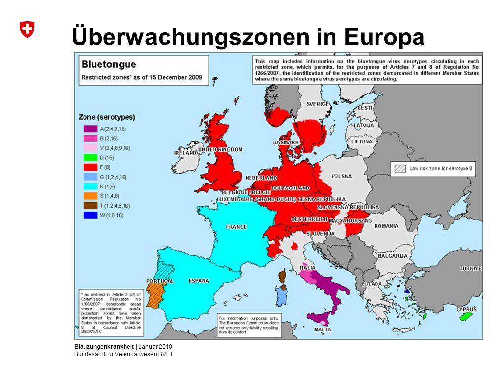 Blauzungenkrankheit | Januar 2010 Bundesamt für Veterinärwesen BVET Überwachungszonen in Europa