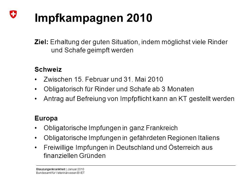 Blauzungenkrankheit | Januar 2010 Bundesamt für Veterinärwesen BVET Impfkampagnen 2010 Ziel: Erhaltung der guten Situation, indem möglichst viele Rinder und Schafe geimpft werden Schweiz Zwischen 15.