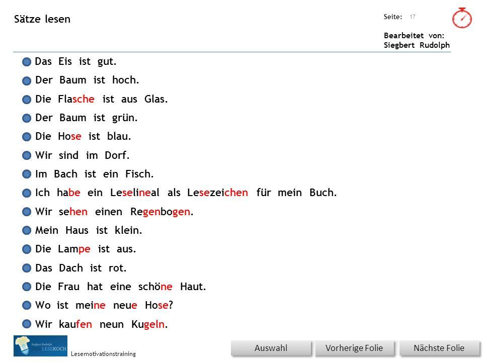 Übungsart: Seite: Bearbeitet von: Siegbert Rudolph Lesemotivationstraining Sätze lesen Nächste Folie Vorherige Folie 17 Titel: Quelle: Das Eis ist gut.