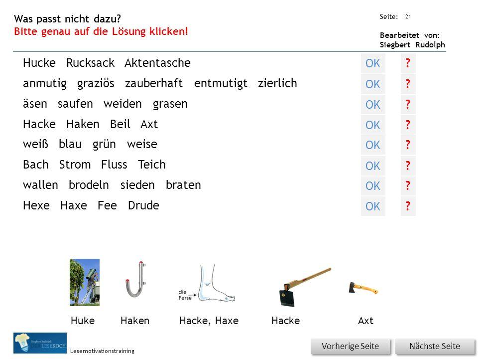 Übungsart: Seite: Bearbeitet von: Siegbert Rudolph Lesemotivationstraining 21 Was passt nicht dazu.