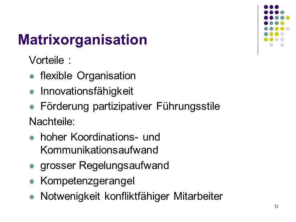 12 Matrixorganisation Vorteile : flexible Organisation Innovationsfähigkeit Förderung partizipativer Führungsstile Nachteile: hoher Koordinations- und Kommunikationsaufwand grosser Regelungsaufwand Kompetenzgerangel Notwenigkeit konfliktfähiger Mitarbeiter