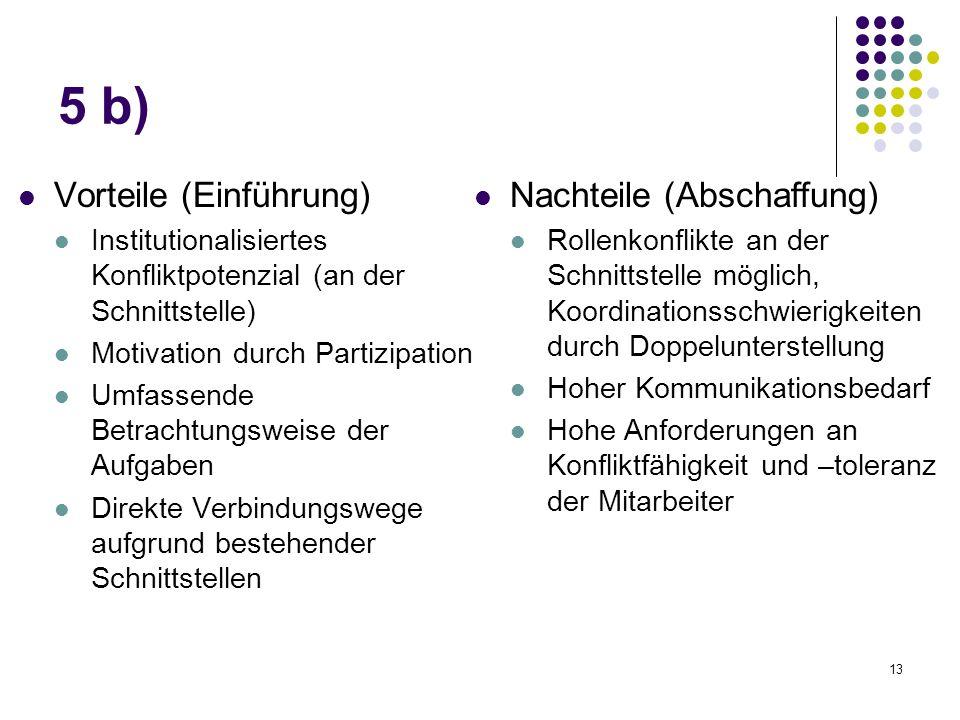 13 5 b) Vorteile (Einführung) Institutionalisiertes Konfliktpotenzial (an der Schnittstelle) Motivation durch Partizipation Umfassende Betrachtungswei