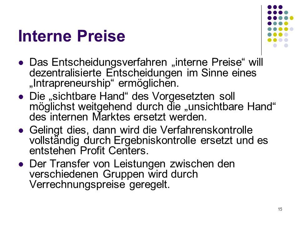 """15 Interne Preise Das Entscheidungsverfahren """"interne Preise"""" will dezentralisierte Entscheidungen im Sinne eines """"Intrapreneurship"""" ermöglichen. Die"""