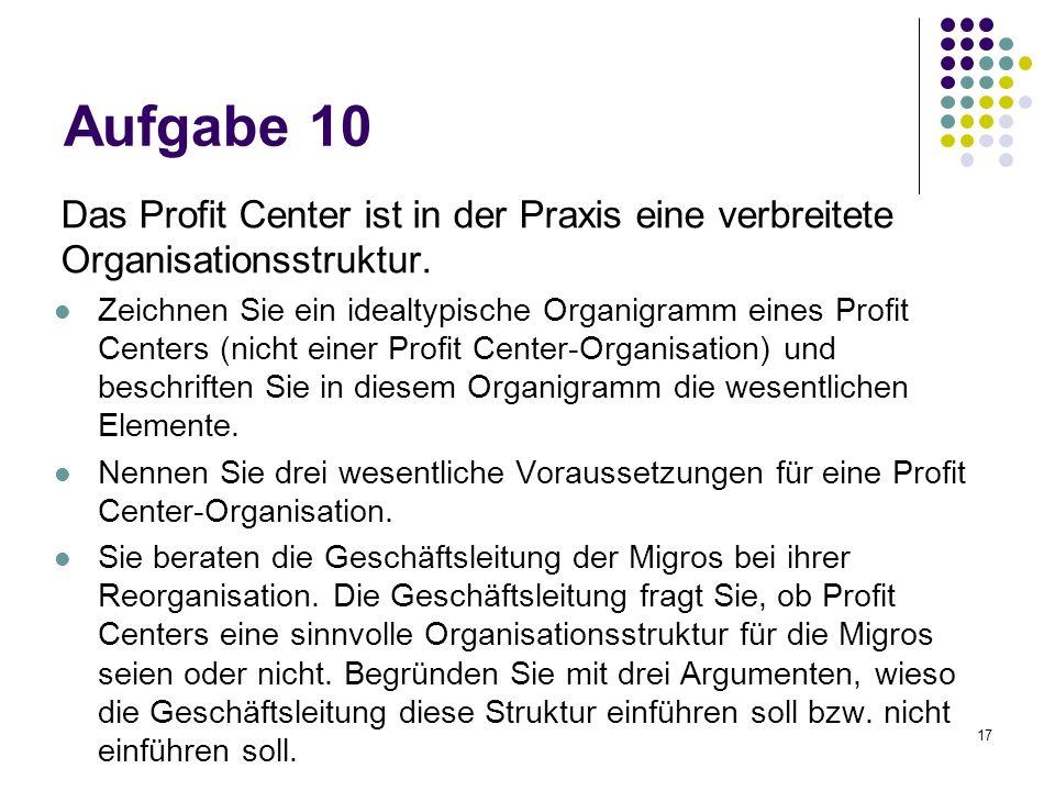 17 Aufgabe 10 Das Profit Center ist in der Praxis eine verbreitete Organisationsstruktur. Zeichnen Sie ein idealtypische Organigramm eines Profit Cent
