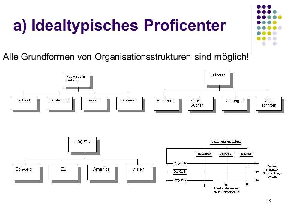 18 Alle Grundformen von Organisationsstrukturen sind möglich! a) Idealtypisches Proficenter