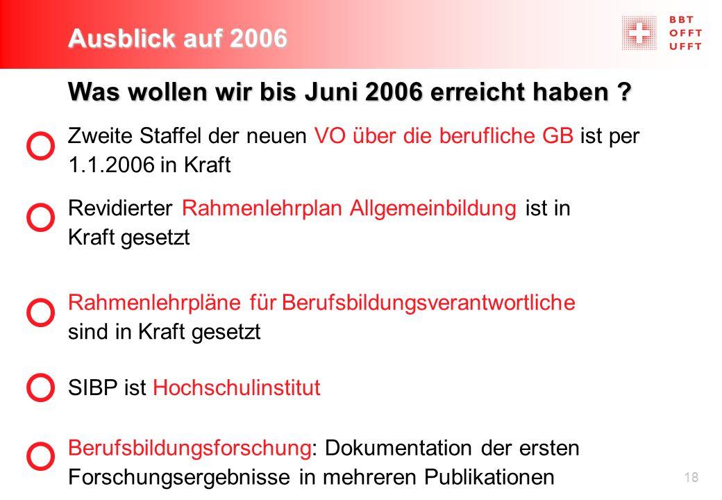 18 Ausblick auf 2006 Was wollen wir bis Juni 2006 erreicht haben ? SIBP ist Hochschulinstitut Berufsbildungsforschung: Dokumentation der ersten Forsch