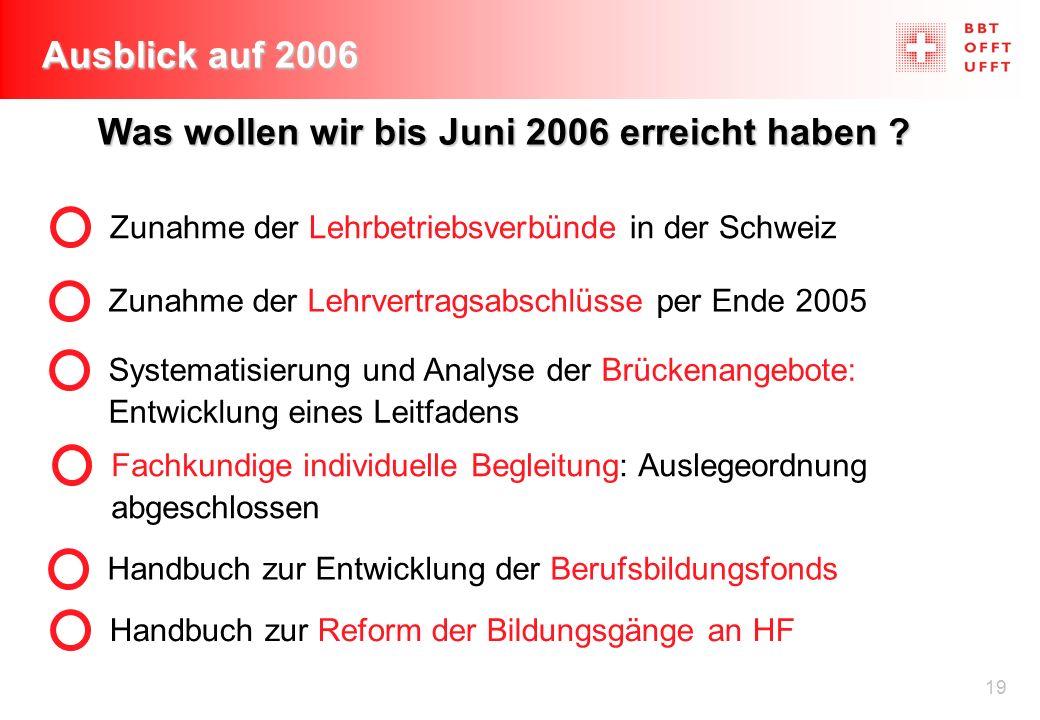 19 Ausblick auf 2006 Fachkundige individuelle Begleitung: Auslegeordnung abgeschlossen Zunahme der Lehrvertragsabschlüsse per Ende 2005 Zunahme der Le