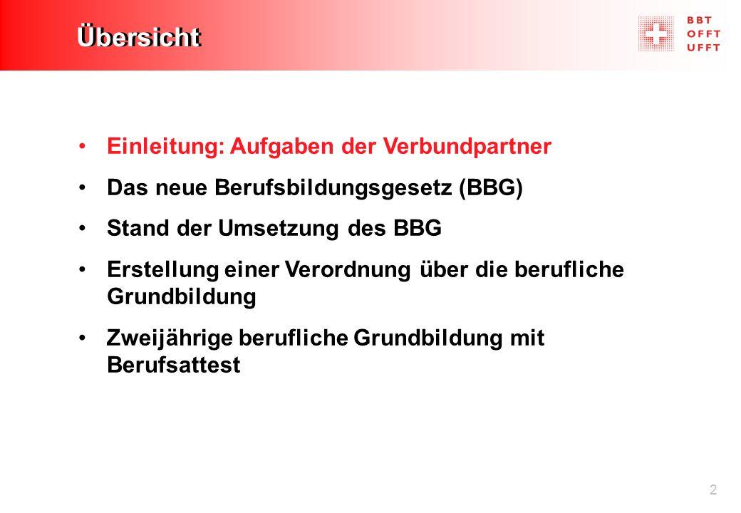 2 Übersicht Einleitung: Aufgaben der Verbundpartner Das neue Berufsbildungsgesetz (BBG) Stand der Umsetzung des BBG Erstellung einer Verordnung über d