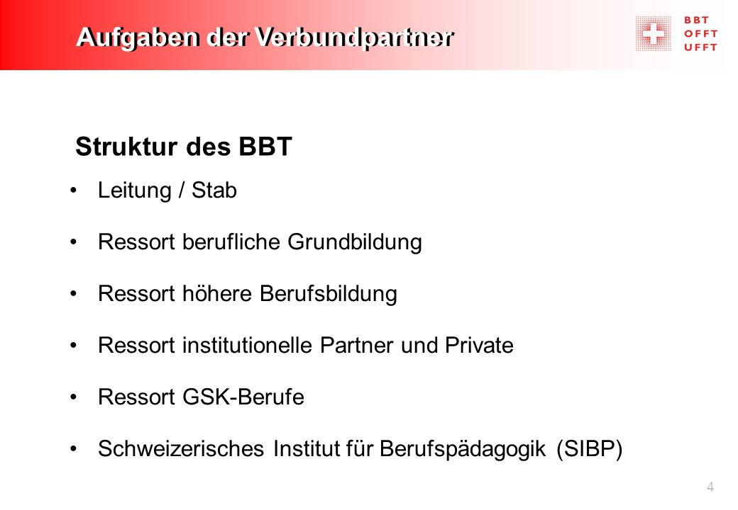 4 Aufgaben der Verbundpartner Struktur des BBT Leitung / Stab Ressort berufliche Grundbildung Ressort höhere Berufsbildung Ressort institutionelle Par
