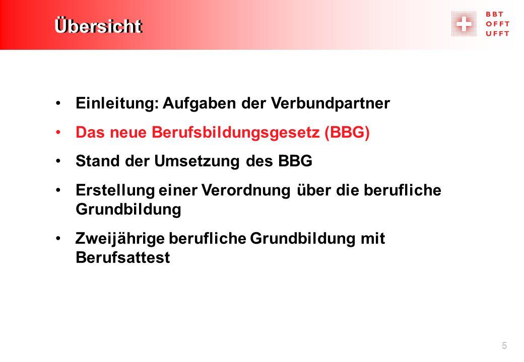 5 Übersicht Einleitung: Aufgaben der Verbundpartner Das neue Berufsbildungsgesetz (BBG) Stand der Umsetzung des BBG Erstellung einer Verordnung über d