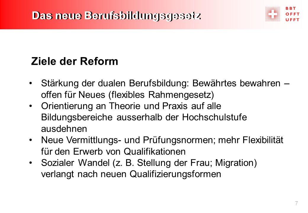 7 Das neue Berufsbildungsgesetz Ziele der Reform Stärkung der dualen Berufsbildung: Bewährtes bewahren – offen für Neues (flexibles Rahmengesetz) Orie