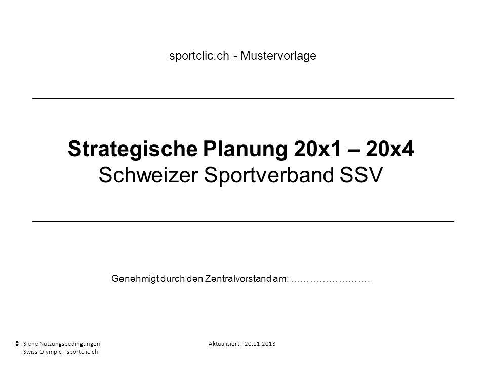 Strategische Planung 20x1 – 20x4 Schweizer Sportverband SSV Genehmigt durch den Zentralvorstand am: ……………………. sportclic.ch - Mustervorlage © Siehe Nut