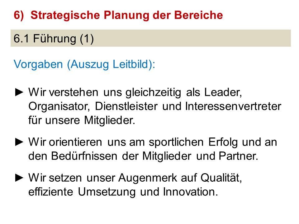 6.1 Führung (1) Vorgaben (Auszug Leitbild): ►Wir verstehen uns gleichzeitig als Leader, Organisator, Dienstleister und Interessenvertreter für unsere Mitglieder.