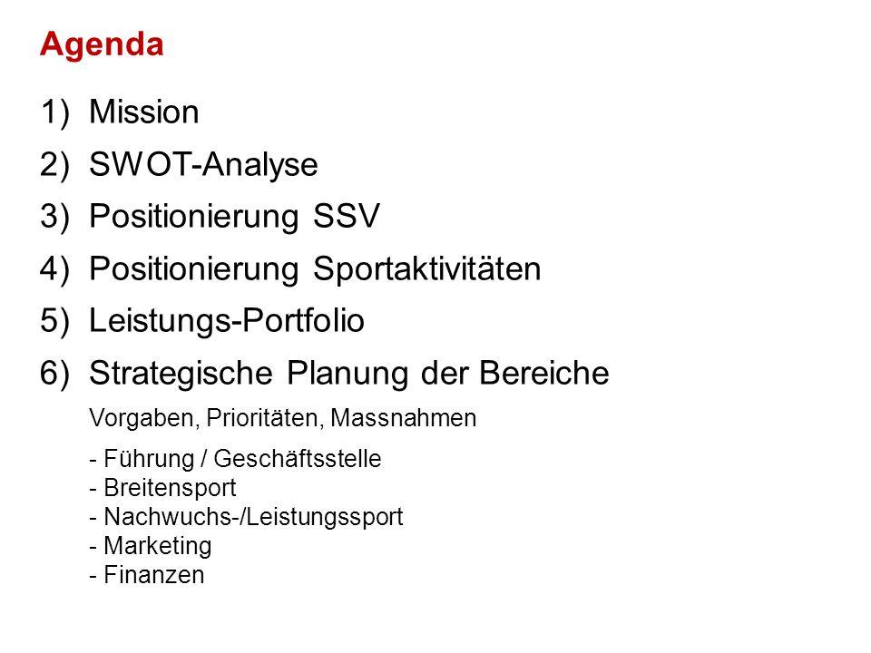 1)Mission 2)SWOT-Analyse 3)Positionierung SSV 4)Positionierung Sportaktivitäten 5)Leistungs-Portfolio 6)Strategische Planung der Bereiche Vorgaben, Prioritäten, Massnahmen - Führung / Geschäftsstelle - Breitensport - Nachwuchs-/Leistungssport - Marketing - Finanzen Agenda