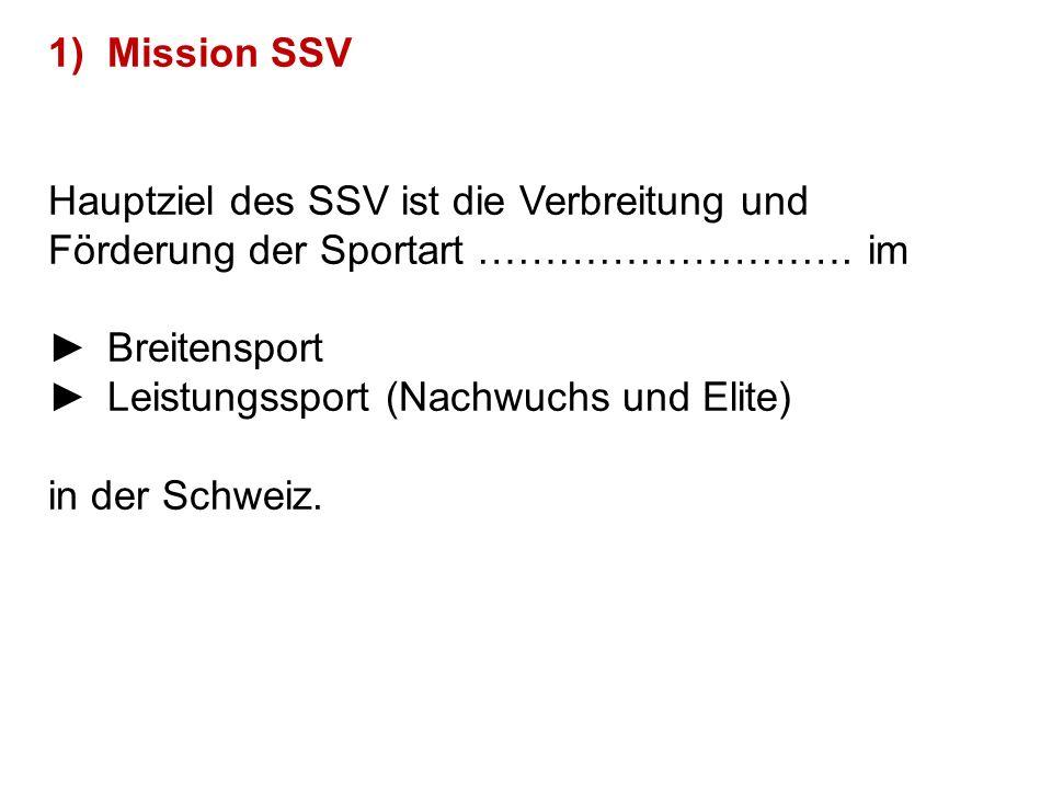 1)Mission SSV Hauptziel des SSV ist die Verbreitung und Förderung der Sportart ………………………. im ►Breitensport ►Leistungssport (Nachwuchs und Elite) in de