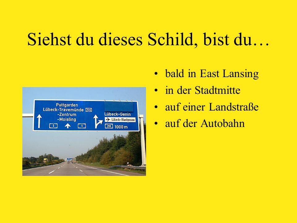 Siehst du dieses Schild, bist du… bald in East Lansing in der Stadtmitte auf einer Landstraße auf der Autobahn