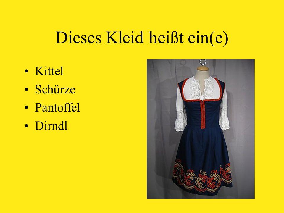 Dieses Kleid heißt ein(e) Kittel Schürze Pantoffel Dirndl