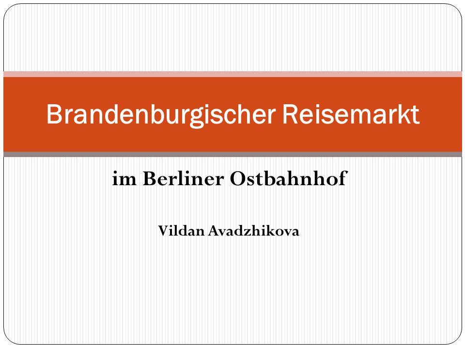 Beim Brandenburgischen Reisemarkt im Ostbahnhof von 10 bis 17 Uhr erwarten die Besucher Info-Stände vorwiegend aus Brandenburg, aber auch Stände und Tips für die Urlaubs- und Freizeitgestaltung in Regionen wie Berlin, Mecklenburg- Vorpommern, Sachsen, Sachsen- Anhalt, Bayern und Polen.