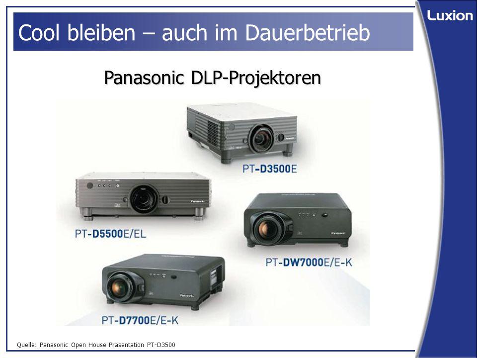 Quelle: Panasonic Open House Präsentation PT-D3500 Cool bleiben – auch im Dauerbetrieb Panasonic DLP-Projektoren
