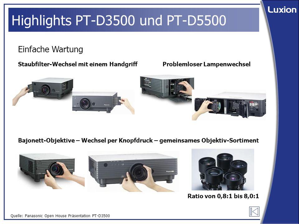 Quelle: Panasonic Open House Präsentation PT-D3500 Highlights PT-D3500 und PT-D5500 Einfache Wartung Staubfilter-Wechsel mit einem HandgriffProblemloser Lampenwechsel Bajonett-Objektive – Wechsel per Knopfdruck – gemeinsames Objektiv-Sortiment Ratio von 0,8:1 bis 8,0:1