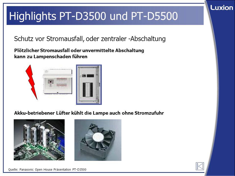 Quelle: Panasonic Open House Präsentation PT-D3500 Highlights PT-D3500 und PT-D5500 Schutz vor Stromausfall, oder zentraler -Abschaltung Plötzlicher Stromausfall oder unvermittelte Abschaltung kann zu Lampenschaden führen Akku-betriebener Lüfter kühlt die Lampe auch ohne Stromzufuhr