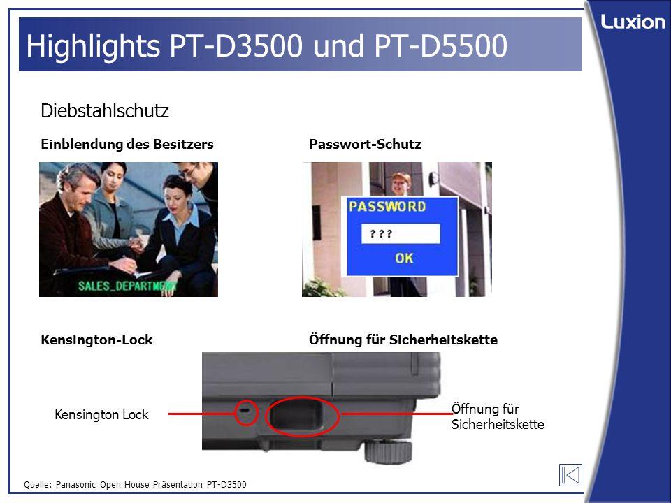 Quelle: Panasonic Open House Präsentation PT-D3500 Highlights PT-D3500 und PT-D5500 Diebstahlschutz Einblendung des Besitzers Kensington-Lock Passwort-Schutz Öffnung für Sicherheitskette Kensington Lock Öffnung für Sicherheitskette
