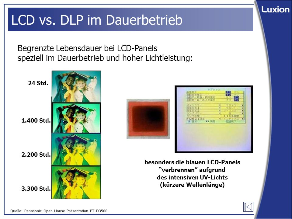 Quelle: Panasonic Open House Präsentation PT-D3500 LCD vs.