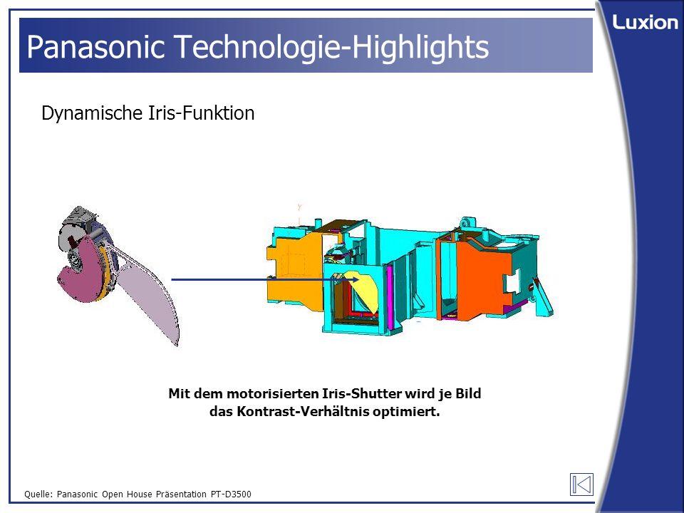 Quelle: Panasonic Open House Präsentation PT-D3500 Panasonic Technologie-Highlights Dynamische Iris-Funktion Mit dem motorisierten Iris-Shutter wird je Bild das Kontrast-Verhältnis optimiert.