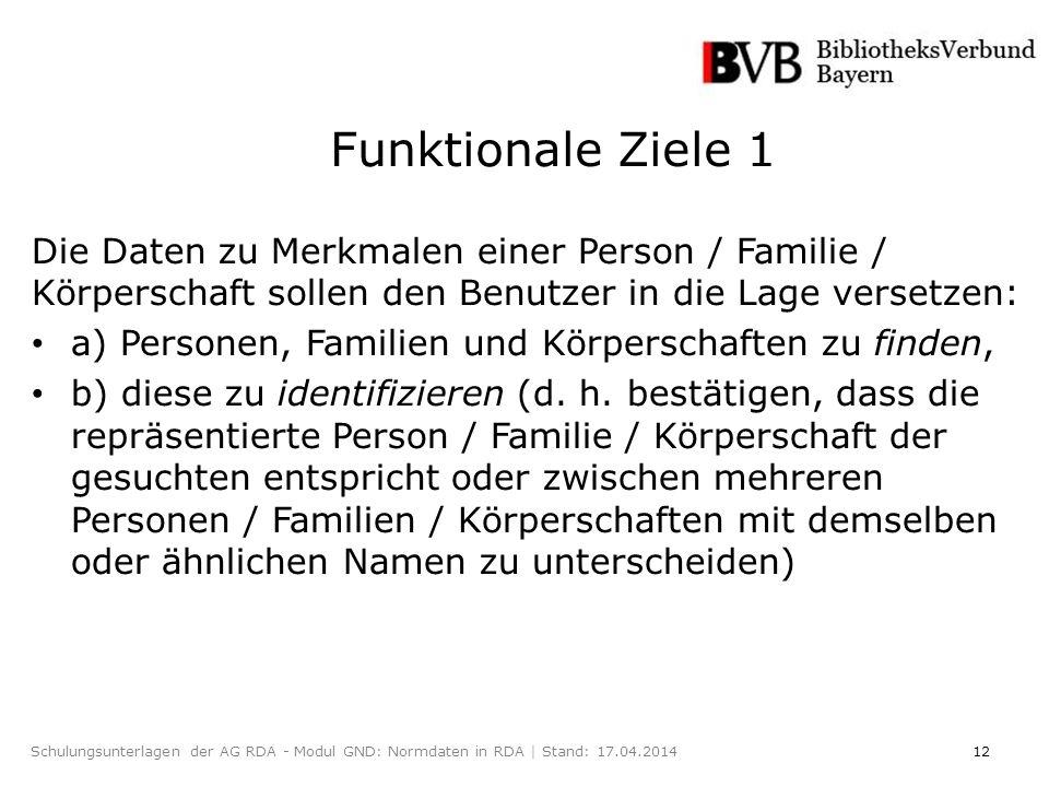 12Schulungsunterlagen der AG RDA - Modul GND: Normdaten in RDA | Stand: 17.04.2014 Die Daten zu Merkmalen einer Person / Familie / Körperschaft sollen den Benutzer in die Lage versetzen: a) Personen, Familien und Körperschaften zu finden, b) diese zu identifizieren (d.