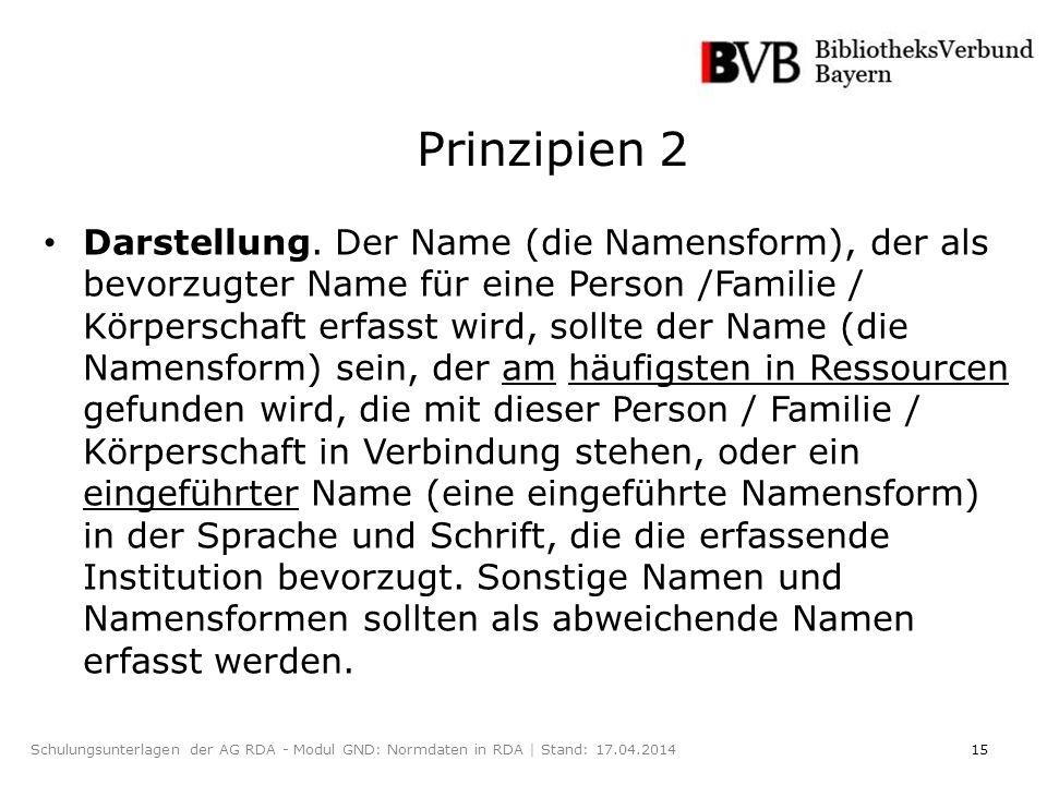 15Schulungsunterlagen der AG RDA - Modul GND: Normdaten in RDA | Stand: 17.04.2014 Darstellung.